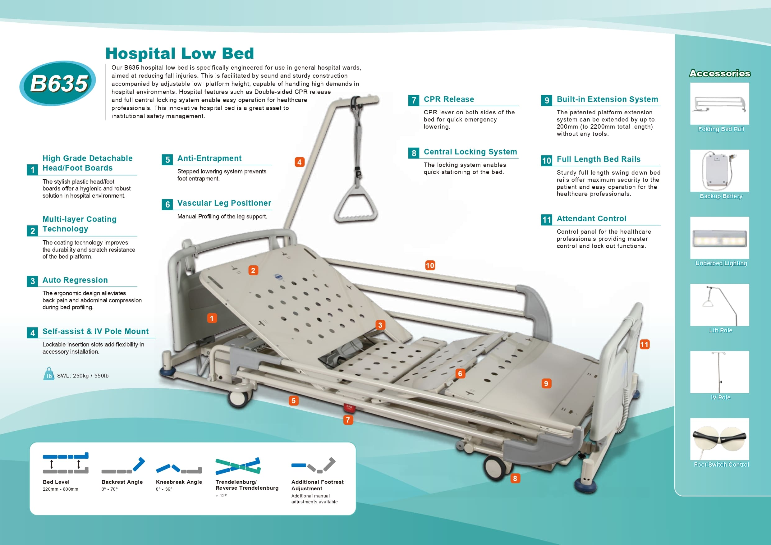 B635 HOSPITAL LOW BED